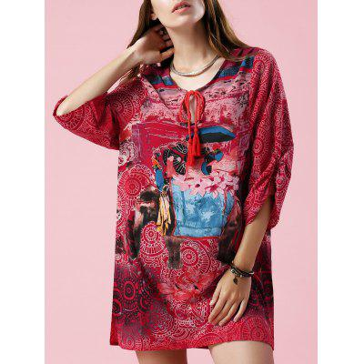 Stylish V Neck 3/4 Sleeve Elephant Print Women's Dress