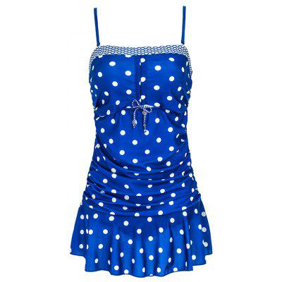 Stylish Spaghetti Straps Polka Dot Ruffled Swimwear For Women