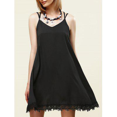 Stylish Strappy Lace Embellished Dress For Women