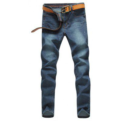 Stylish Straight Leg Bleach Wash Zipper Fly Men's Jeans