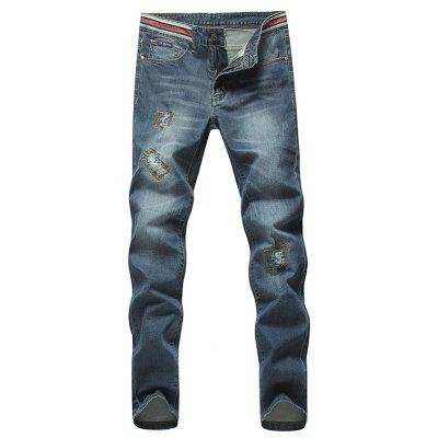 Stylish Straight Leg Bleach Wash Zipper Fly Men's Ripped Jeans