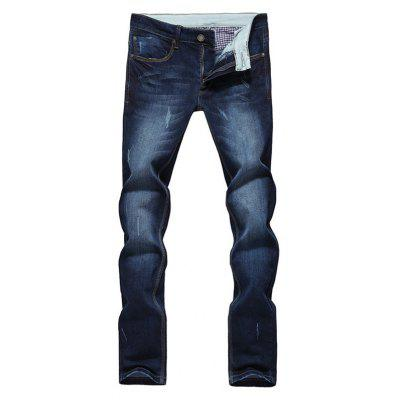 Modish Straight Leg Bleach Wash Zipper Fly Men's Jeans