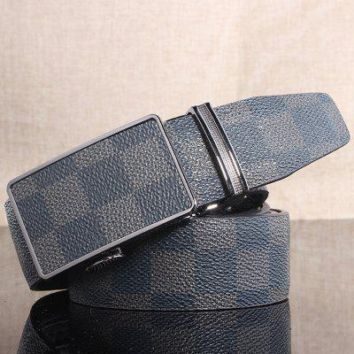Automatic Buckle Classical Checked Pattern Belt For Men