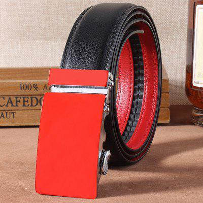 Stylish Automatic Buckle Black Match Fresh Red Belt For Men