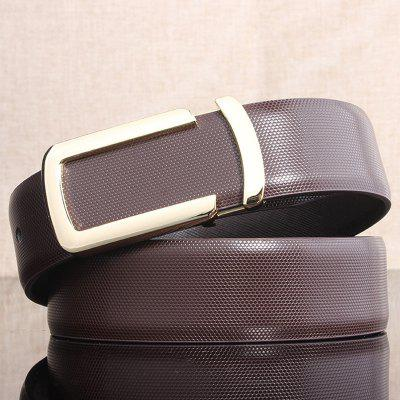 Stylish Cut Out Golden Letter U Shape Embellished Brown Belt For Men