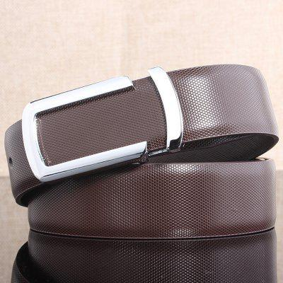 Stylish Cut Out Silver Letter U Shape Embellished Brown Belt For Men