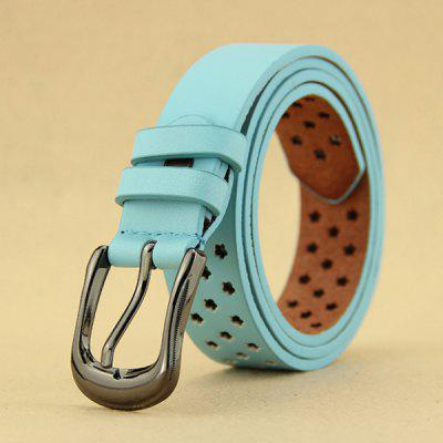 Stylish Pin Buckle Flower Shape Perforated Fresh Style Lake Blue Belt For Women