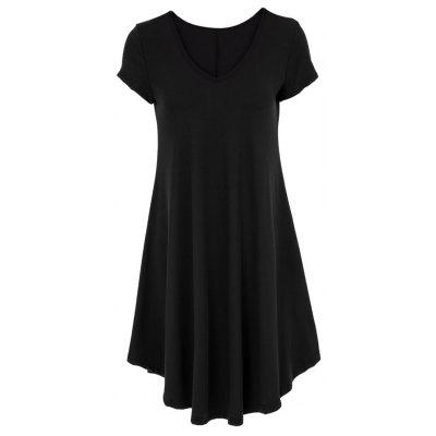 V-Neck Ruffled Casual Tunic Dress With Sleeves