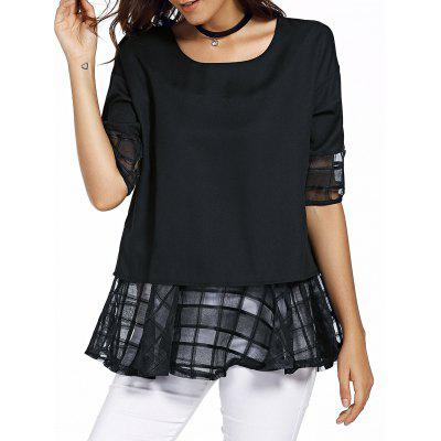 Buy BLACK Sweet Round Neck Half Sleeve Bowknot Design Spliced Women's Chiffon Blouse for $11.79 in GearBest store
