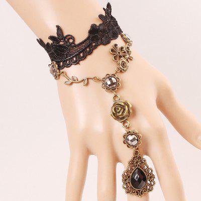 Faux Gem Rose Water Drop Hollowed Lace Bracelet with Ring