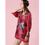 Stylish V Neck 3/4 Sleeve Elephant Print Women's Dress photo