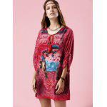 best Stylish V Neck 3/4 Sleeve Elephant Print Women's Dress