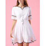Stylish V Neck Short Sleeve Embroidery A Line Women's Dress - WHITE