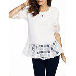 Sweet Round Neck Half Sleeve Bowknot Design Spliced Women's Chiffon Blouse - WHITE