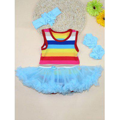 Scoop Neck Sleeveless Rainbow Color Girl's Ball Gown Dress