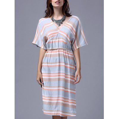 Stylish V Neck Half Sleeve Striped A Line Women's Dress