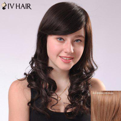 Sweet Long Fluffy Wavy Side Bang Human Hair Capless Siv Wig For Women
