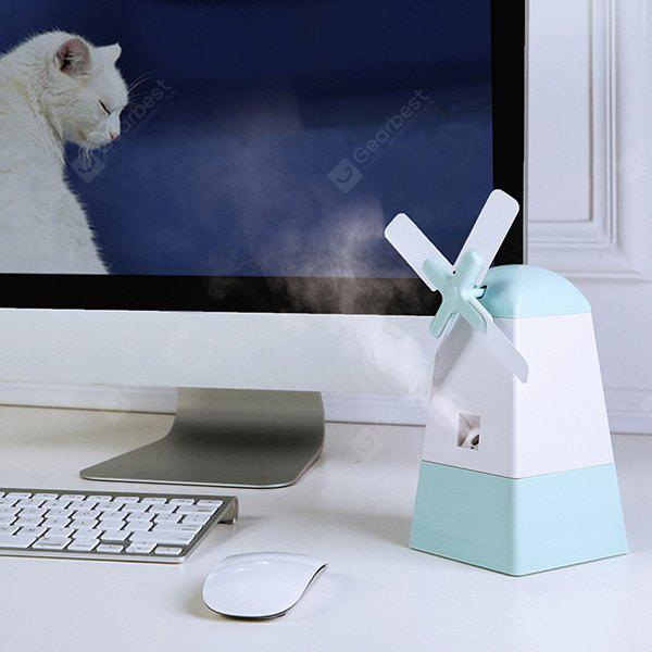 Mini USB Mist Diffuser Windmill Shape Fan Anion Humidifier para Office Home