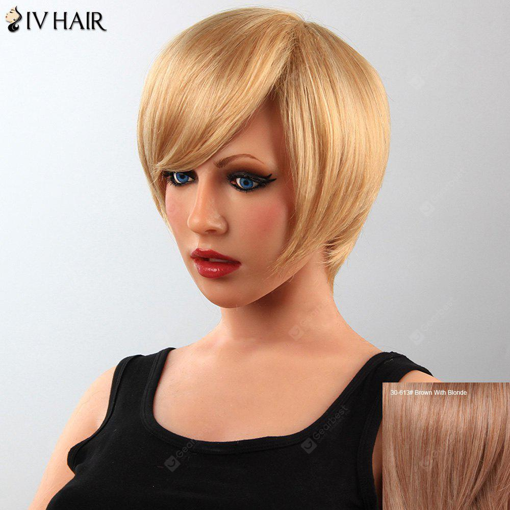 Stunning Short Straight Human Hair Side Bang Capless Siv Wig For Women