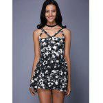 Fashionable Sleeveless Floral Print Cut Out Slimming Women's Dress - BLACK