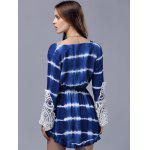 Stylish Plunging Neck Long Sleeve Lace Splice Women's Dress deal