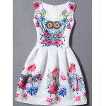 Sleeveless Owl Floral Fit and  Flare Dress - BLANC