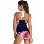 Buy Halter Striped Hit Color Tankini Set L RED AND WHITE BLUE