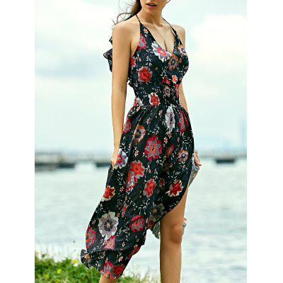 Bohemian Floral Print Maxi Strap Dress For Women