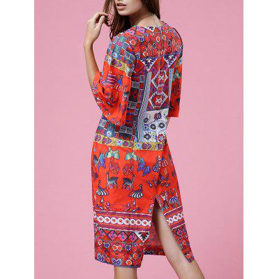 Round Neck Half Sleeve Retro Print Dress