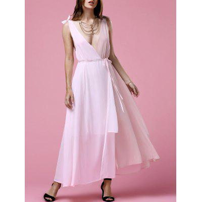Stylish Plunging Neck Sleeveless Hit Color Chiffon Women's Dress