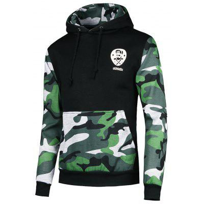 Vogue Hooded Camo Spliced Front Pocket Long Sleeves Hoodie For Men