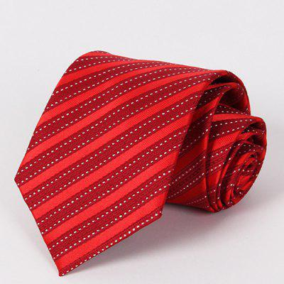 Stylish Twill and Dashed Line Pattern Red Tie For Men