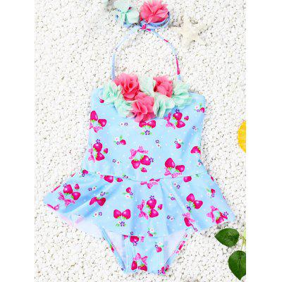 Cute Halter Strawberry Print Flower Spliced Girl's One-Piece Swimsuit