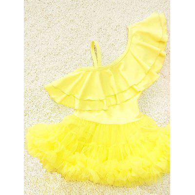 Cute One-Shoulder Flounced Pure Color Girl's One-Piece Swimsuit