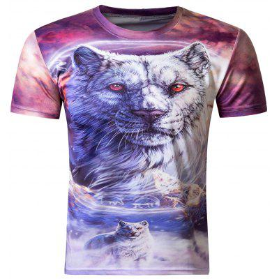 Buy Stylish 3D Round Neck White Tiger Print Short Sleeve Men's T-Shirt, COLORMIX, M, Apparel, Men's Clothing, Men's T-shirts, Men's Short Sleeve Tees for $13.27 in GearBest store