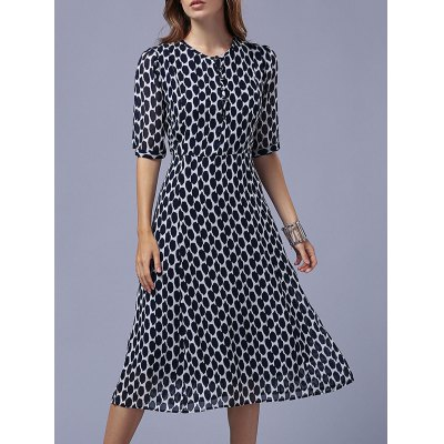 Fashion Round Neck Half Sleeve Polka Dot Dress For Women