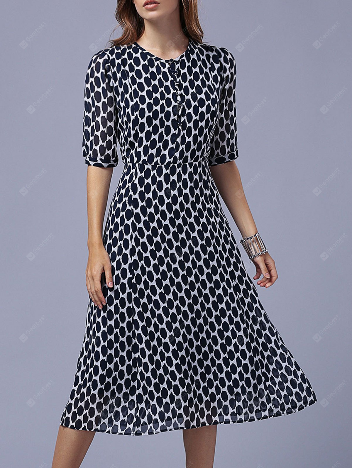 Neck Mode Ronde Half Sleeve Polka Dot Dress For Women