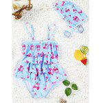 Cute Spaghetti Strap Strawberry Print Girl's One-Piece Swimsuit - MAVI