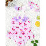 Cute Halter Strawberry Print Flower Spliced Girl's One-Piece Swimsuit - ROSE PÂLE