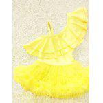 Cute One-Shoulder Flounced Pure Color Girl's One-Piece Swimsuit - JAUNE
