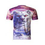 cheap Stylish 3D Round Neck White Tiger Print Short Sleeve Men's T-Shirt