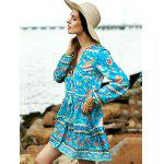 Buy Casual Long Sleeve Tiny Floral Low Cut Women's Boho Dress L TURQUOISE