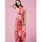 Buy Elegant Floral Print Halter Neck Women's Maxi Dress 2XL COLORMIX