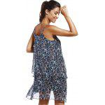 Fashioable Flower Printing Rippled Edge Spaghetti Strap Dress For Woman - COLORMIX