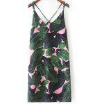 Stylish V-Neck Tropical Print Dress For Women - GREEN