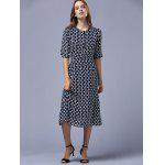 Buy Fashion Round Neck Half Sleeve Polka Dot Dress Women M PURPLISH BLUE