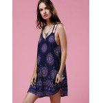 Buy Ethnic Print Open Back Strappy Casual Dress S PURPLISH BLUE