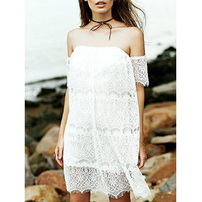 Stylish Off The Shoulder White Lace Women's Dress
