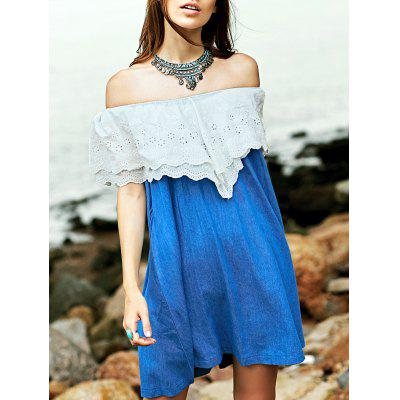 Sweet Embroidered Ruffle Women's Denim Dress