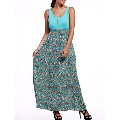 Empire Waist Tribal Print Maxi Dress